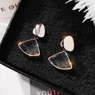 LIVSIA - Faux Crystal Fan Dangle Earring