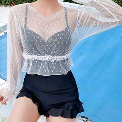 ASUMM - 套装: 纯色泳装 + 罩衫