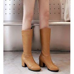 Freesia - Faux-Leather Block Heel Mid-Calf Boots