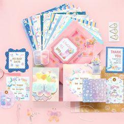 Chaga - Set: Diary Background Decoration Paper + Sticker + Envelope + Letter Paper + Memo Pad + Masking Tape + Metal Bookmark