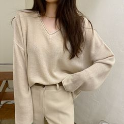 DABAGIRL(ダバガール) - V-Neck Roll-Edge Sweater