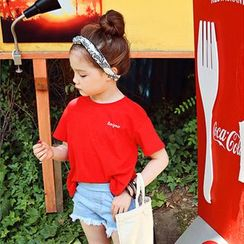 Cuckoo - Kids Asymmetric Hem Plaid Skirt / Open Back Short-Sleeve T-Shirt