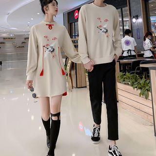 Azure(アズール) - Couple Matching Crane Print Sweatshirt / Long-Sleeve Crane Print Tasseled Qipao / Pants