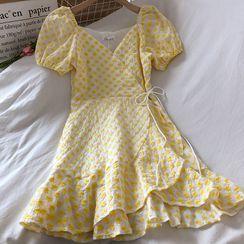 Wilder Dreams - Surplice Wrap Puff Sleeve Ruffled Floral Dress