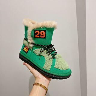 kokoin - Letter Applique Paneled Snow Boots