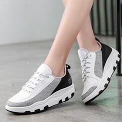 MINIKA - 插色厚底休閒鞋