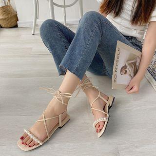 QQ Trend - 粗跟繫帶涼鞋