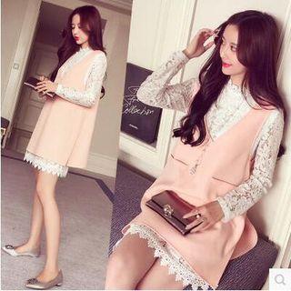 Oaksa - Set: Long-Sleeve Lace Dress + V-Neck Jumper Dress