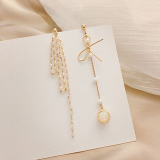LIVSIA - Non-Matching Faux Pearl Fringed Earring