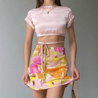 Hotarium - Floral A-Line Mini Skirt