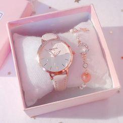 Tacka Watches - 套裝: 仿皮帶手錶 + 水鑽月亮手鏈