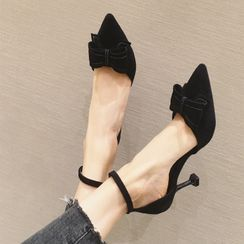 Shawnsher - Bow Pointy-Toe Ankle Strap Stiletto Heel Pumps