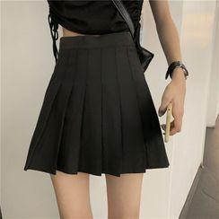 Guajillo - High-Waist Plain Pleated Skirt