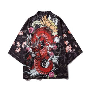 DuckleBeam - 3/4-Sleeve Printed Open-Front Jacket