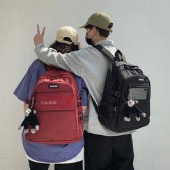 Mulgam - Mesh Pocket Zip Nylon Backpack / Chimpanzee Bag Charm