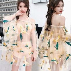 Jumei - Set: Plain Bikini + Bird Embroidered Cover-Up