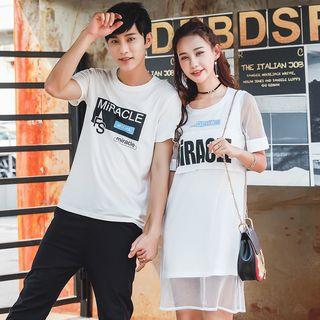NoonSun - Couple Matching Lettering Short-Sleeve T-Shirt / T-Shirt Dress
