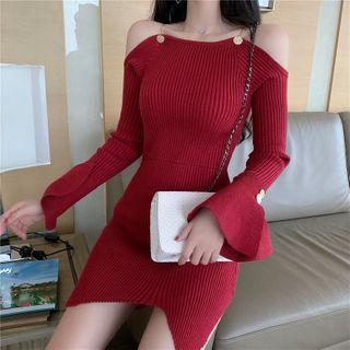 Symphious - Cold-Shoulder Bell-Sleeve Mini Knit Dress