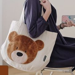 wallFLOWERz - Bear Embroidered Canvas Tote Bag