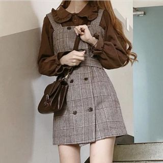 EFO - Frilled Trim Collar Long Sleeve Blouse / Double Breast Plaid Pinafore Dress