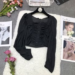 Queen's Den - Square-Neck Long-Sleeve Cropped Top