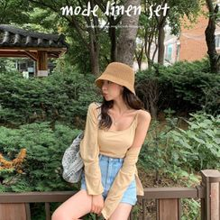 MERONGSHOP - Set: Linen Blend Cardigan + Camisole Top
