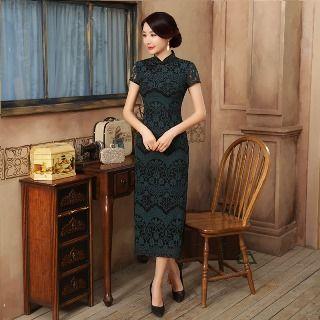 Golden Flowers - Short-Sleeve Lace Maxi Cheongsam