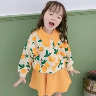 Cerula - Kids Set: Printed Button Jacket + A-Line Skirt