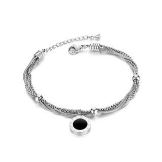 BELEC - Fashion Temperament Roman Numeral Geometry Round 316L Stainless Steel Multi-layer Bracelet