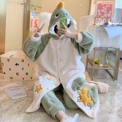 Sweetzer - Pajama Set: Hooded Dinosaur Fleece Sleep Robe + Lounge Pants