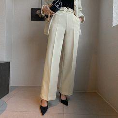DABAGIRL - Belted Wide-Leg Dress Pants