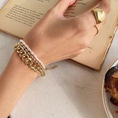 NANING9(ナンニング) - Faux-Pearl & Chain Bracelet Set (2 PCS)