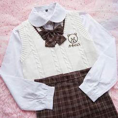 Candy House - 純色襯衫 / 蝴蝶結領帶 / 領帶 / 刺繡麻花針織馬甲 / 格紋打褶裙子 / 套裝