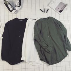 Acrius - Mandarin Collar Linen Shirt