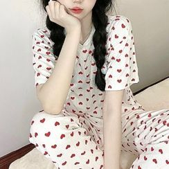 merryberry - Pajama Set: Short-Sleeve Heart Print T-Shirt + Wide Leg Pants
