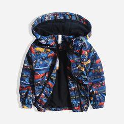 Happy Go Lucky - Kids Car Print Hooded Jacket