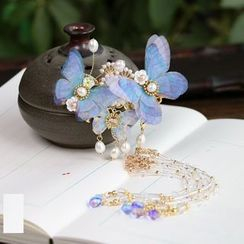 Kanzashi - Retro Freshwater Pearl Butterfly Fringed Hair Clip