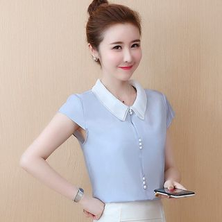 Rosehedge - 雪纺短袖衬衫