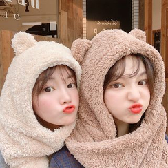 Yunikon - Chenille Bear Ear Hooded Scarf