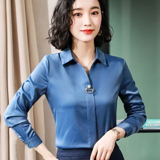 Princess Min - Long-Sleeve Blouse / Dress Pants / Mini Sheath Skirt
