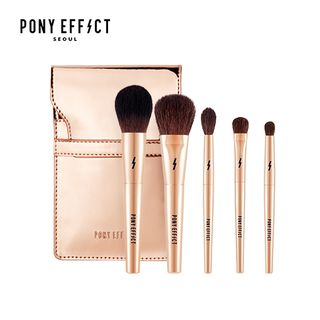 PONY EFFECT - Mini Makeup Brush Set: Powder Brush + Cheek & Shading Brush + Blending Eyeshadow Brush + Medium Eyeshadow Brush + Smudging Eyeshadow Brush