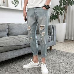 Wewewow(ウィウィワオ) - Washed Distressed Cropped Skinny Jeans