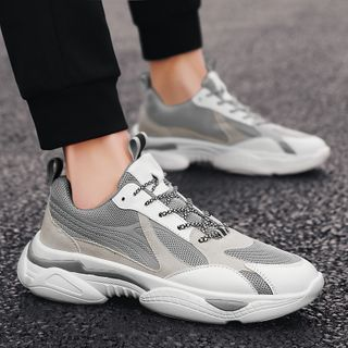 Signore - Mesh Panel Lace Up Sneakers