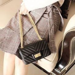 ENSSO - Genuine Leather Buckled Shoulder Bag