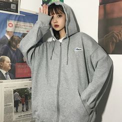 MARION(マリオン) - Hooded Oversize Plain Fleece Sweatshirt Jacket