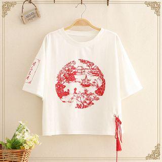 Kawaii Fairyland - Printed Elbow-Sleeve T-Shirt