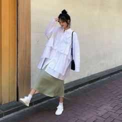 Rerise - 荷叶边衬衫 / 纯色中长裙