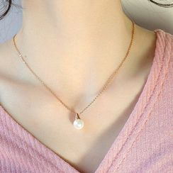 Tenri - Stainless Steel Faux Pearl Pendant Necklace