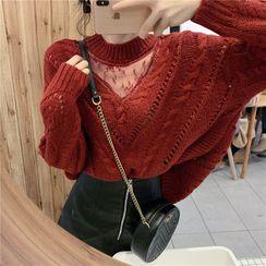 IKIO - 小高领网纱拼接毛衣