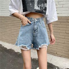 Yako - High-Waist Distressed Denim Shorts